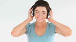 Cute woman with earphones Footage