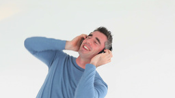 Man with earphones Footage