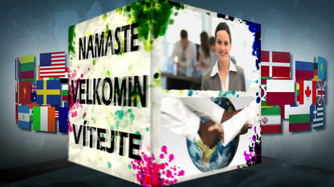 3D WelcomeAnimation in different languages Stock Video Footage