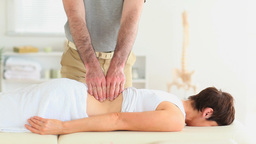Woman getting a backmassage Footage