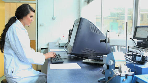 Scientist working with a computer Footage