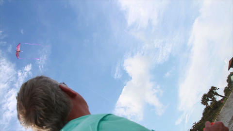 0106 Man Enjoying Reterment, Kite Flying Footage