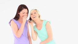 Excited young women with a phone Stock Video Footage