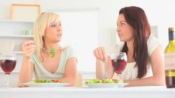 Joyful women having dinner together Footage