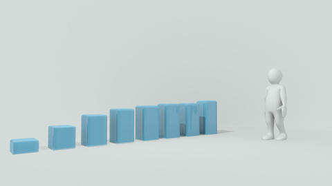 3d man presenting a bar graph Animation