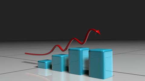 Red arrow following a blue bar graph Animation