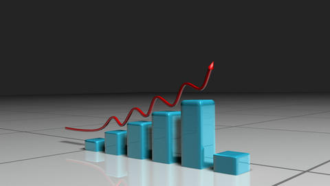 Red arrow following a blue bar graph Stock Video Footage
