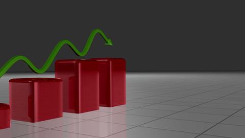 Green arrow following a red bar graph Animation