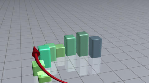 Red arrow following a green bar graph Stock Video Footage
