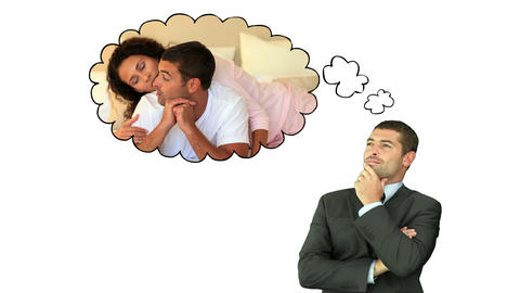 Businessman thinking about moments with his wife Animation