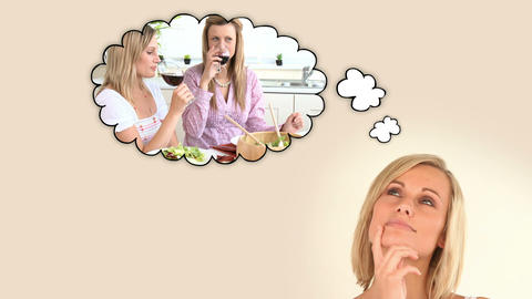 Blonde woman thinking about moment with her friend Animation
