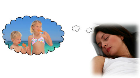 Woman dreaming about her children Stock Video Footage