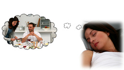 Woman dreaming about dinner time Animation