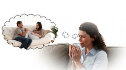 Woman thinking about spending time with her fiance Animation