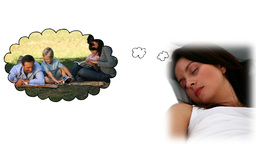 Woman dreaming about playing with her family Animation