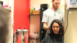 Student having an haircut Stock Video Footage