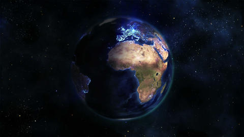 Lighted Earth turning on itself with blue connecti Stock Video Footage