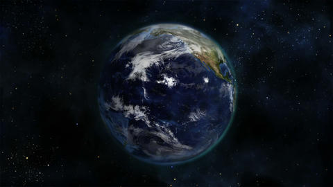 Cloudy Earth turning on itself with Earth image curtesy of Nasa.org Footage