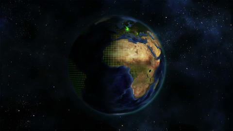 Shaded Earth turning on itself with grid and green Stock Video Footage
