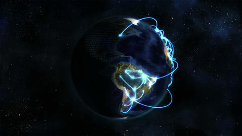 Shaded Earth turning on itself with grid and blue Stock Video Footage