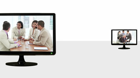 Animated TV screens about meetings Animation