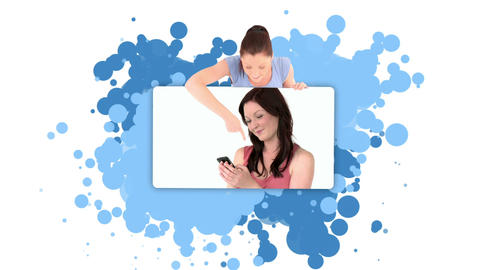 Woman showing herself using a cellphone Stock Video Footage