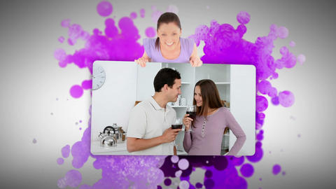 Woman showing a young couple at home Footage