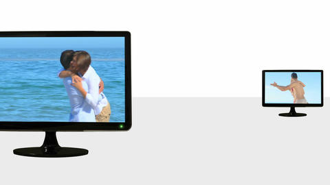 Animated TV screens showing couples Footage