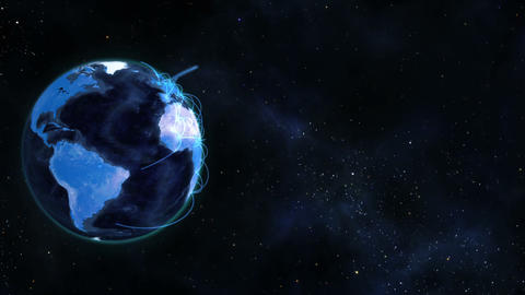 Blue planet globe turning on itself Stock Video Footage