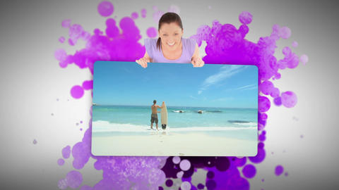 Woman showing people on the beach Stock Video Footage