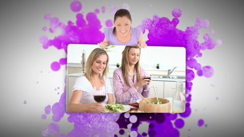 Woman showing friends at home Stock Video Footage