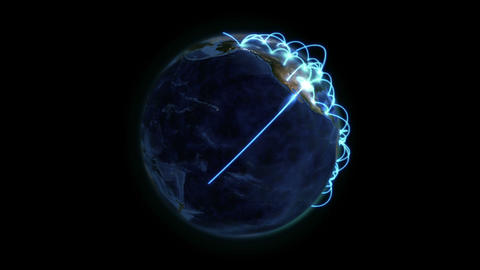 Earth with blue connection in movement with Earth  Footage