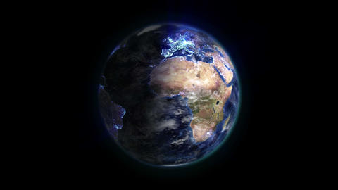 Earth with blue connections and moving clouds in m Stock Video Footage
