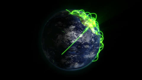 Shaded and lighted Earth with green connections turning on itself with moving Footage