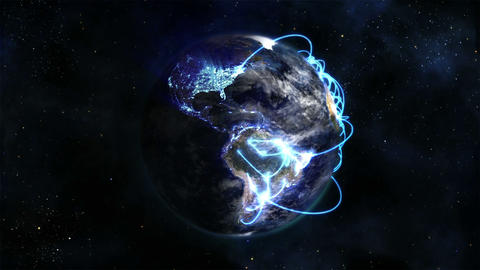 Shaded and lighted Earth with blue connections in Stock Video Footage