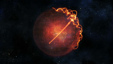 Animated globe in movement with orange connections Animation