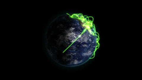 Zoom out of a green network on a shaded Earth with moving clouds with Earth Animation