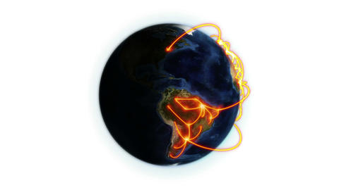 Orange network on a shaded Earth with Earth image Stock Video Footage