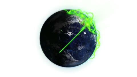 Green network on a lighted and cloudy Earth with Earth image courtesy of Animation