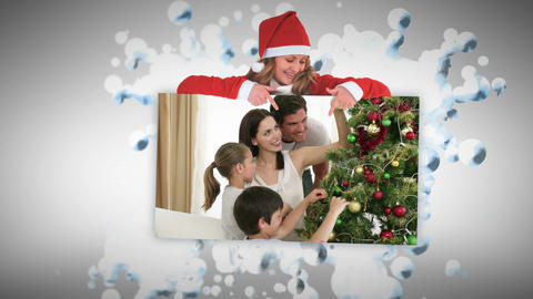 Christmas animations about families decorating a t Animation