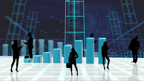 Bar graph appearing surrounded by silhouettes Animation