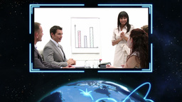 Happy business people working with Earth image cou Animation