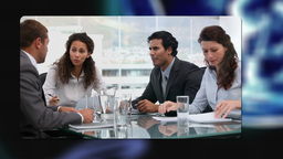 Business people working during meetings with Earth image... Stock Video Footage