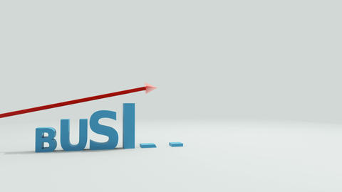 Letters ascend and spell the word business while an arrow passes across the top Animation