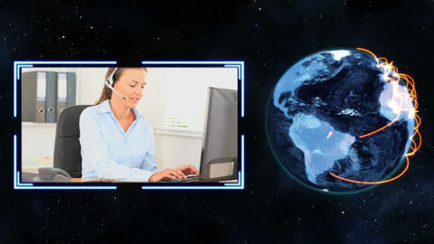 Earth turning next to a video of women making call Stock Video Footage