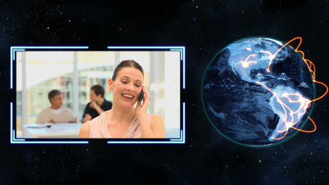 Earth turning next to a video of women making calls with Earth image courtesy of Animation