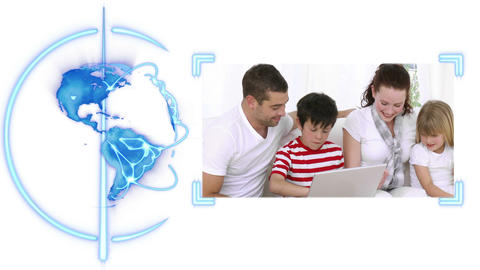 Earth turing as a video of a family appears to the right with Earth image Animation