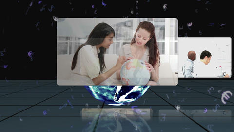 Videos appear from behind a rotating earth with Ea Animation