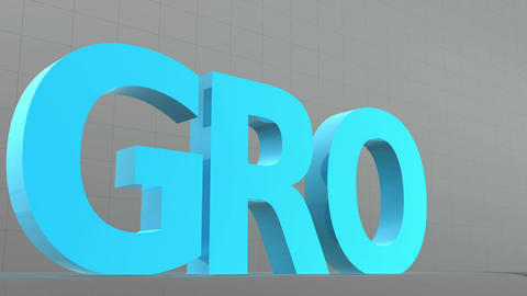 Large letters descend from above and spell the word grow Animation