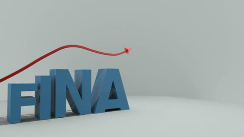 Letters ascend and spell the word finance while an arrow passes across the top Animation